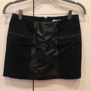 NWOT Cooperative Black Suede/Leather Skirt Size 0